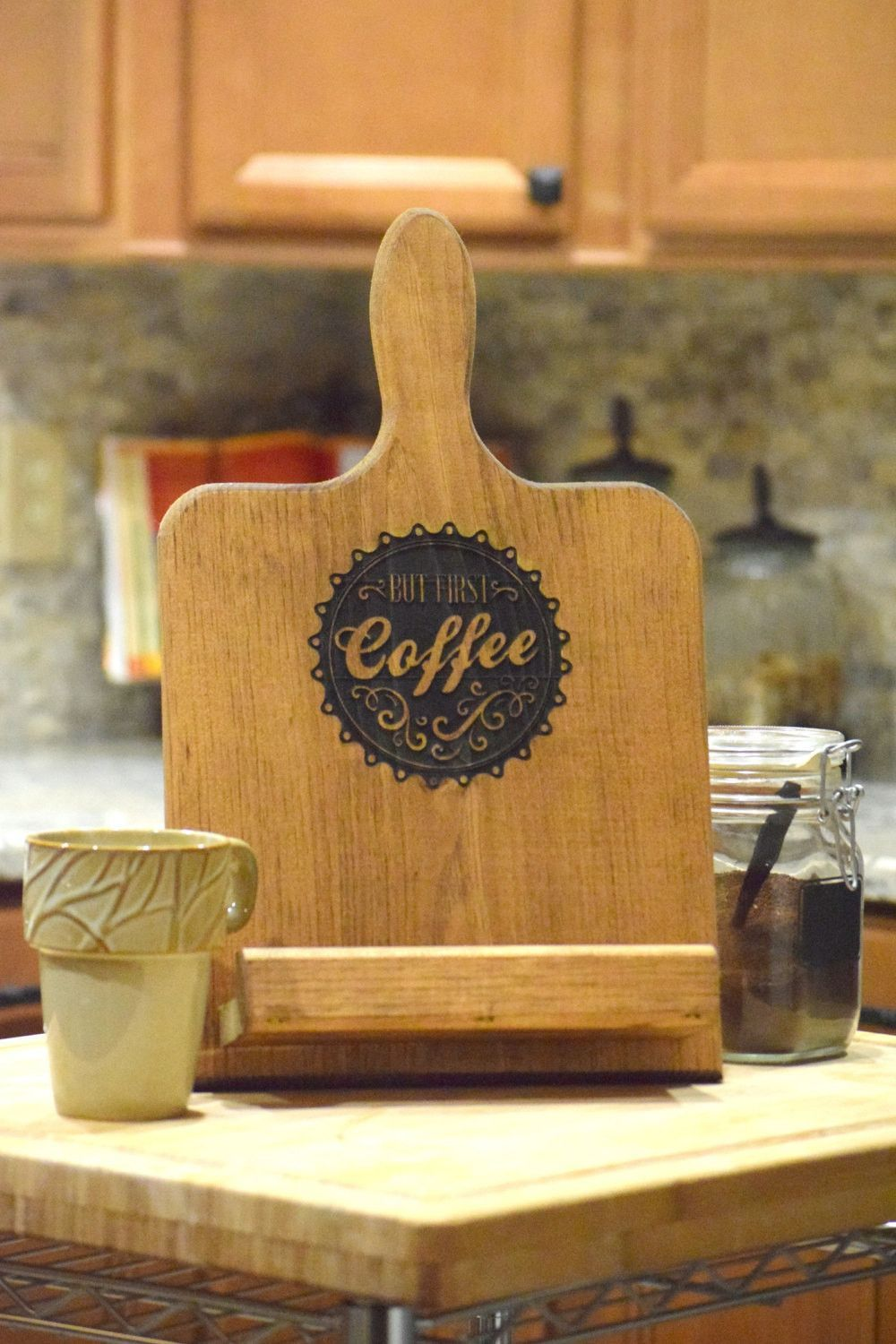Tablet stand for kitchen  But First Coffee Personalized TabletCookbook Holder  Products