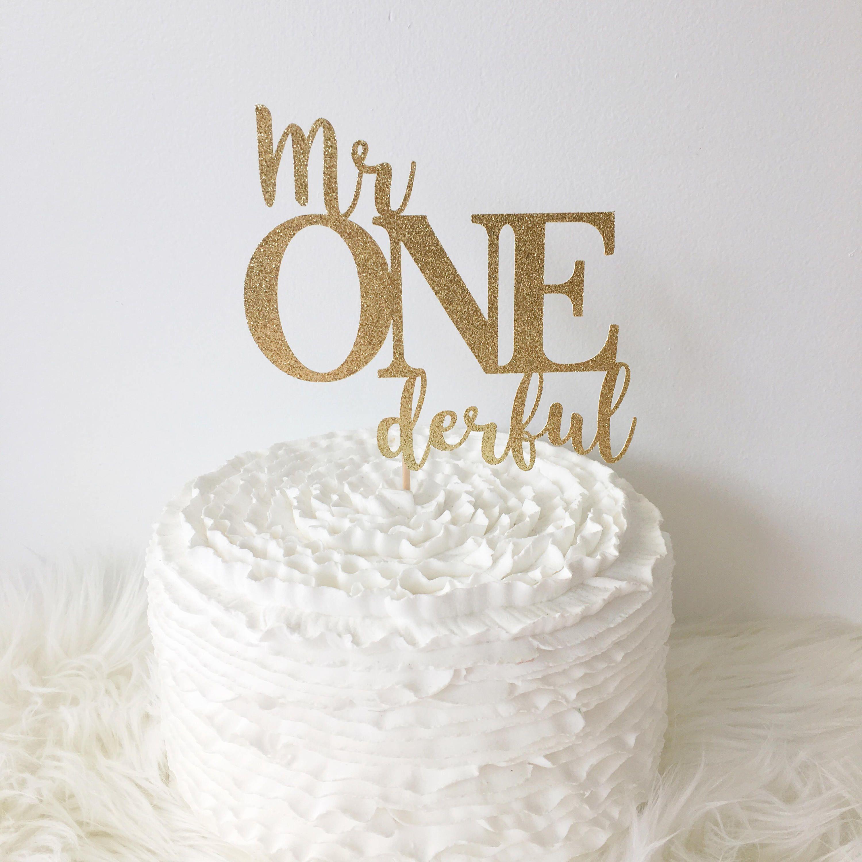 MR ONE DERFUL 1ST BIRTHDAY GLITTER CAKE TOPPER BOYS 1ST BIRTHDAY CAKE SMASH PROP