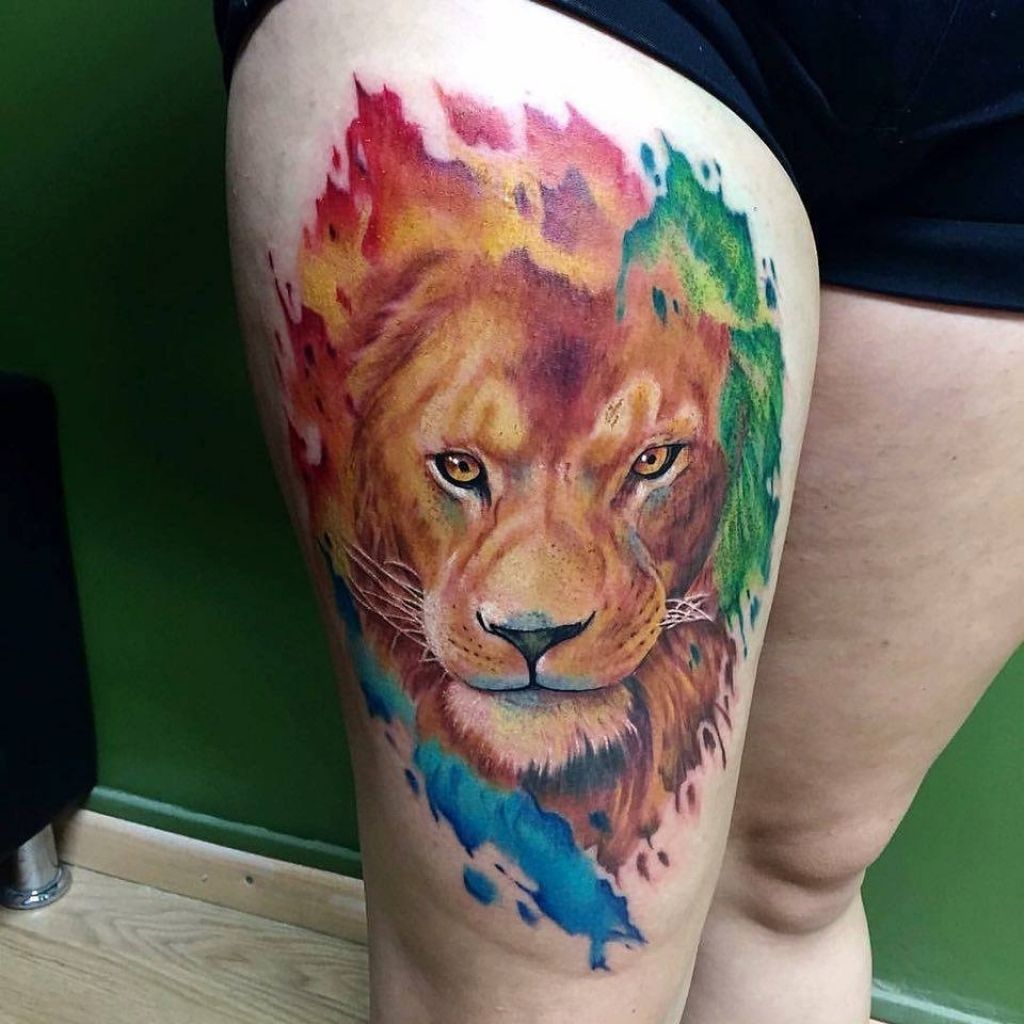 66e3fba22 Lion Tattoo On Thigh Beautiful Colored Lion Head Tattoo On Left Thigh .