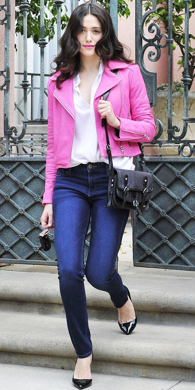 J Brand Aiah Jacket ($717) in Hibiscus DL1961 Instasculpt Jeans ($178) in Warner Zadig  Voltaire Milla Bag ($610)