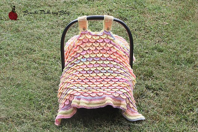 Aw, how cute is this! This crochet crocodile stitch car seat cover ...