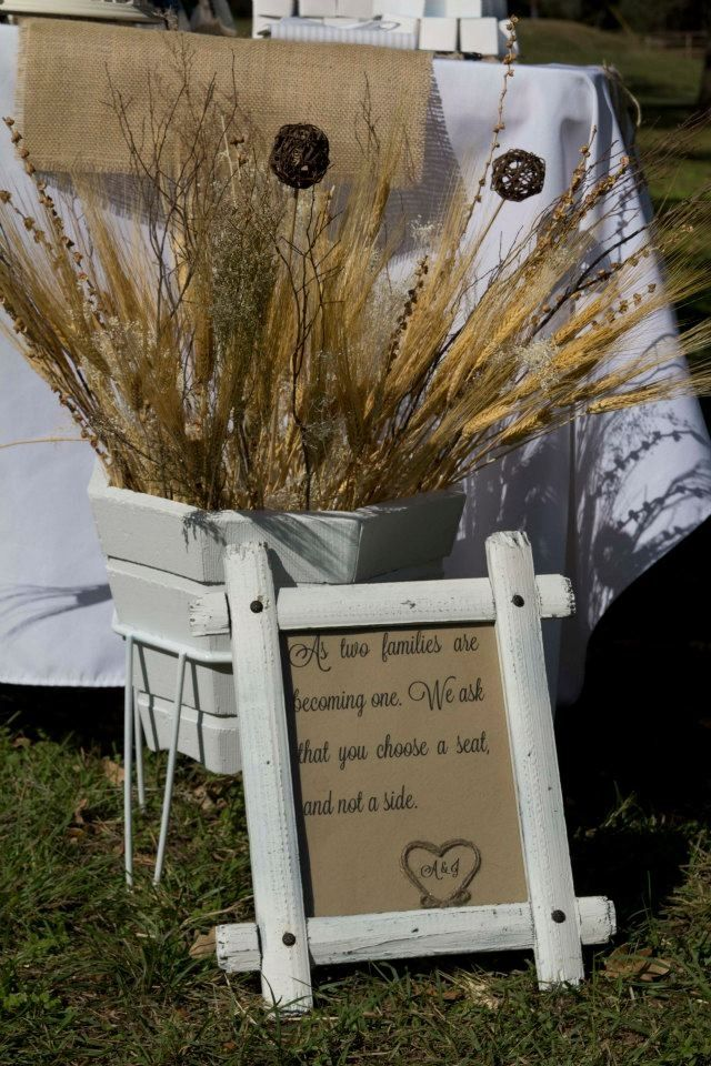 Seating instructions at wedding, placed inside a white shabby picture frame. Used a wooden planter for decoration.