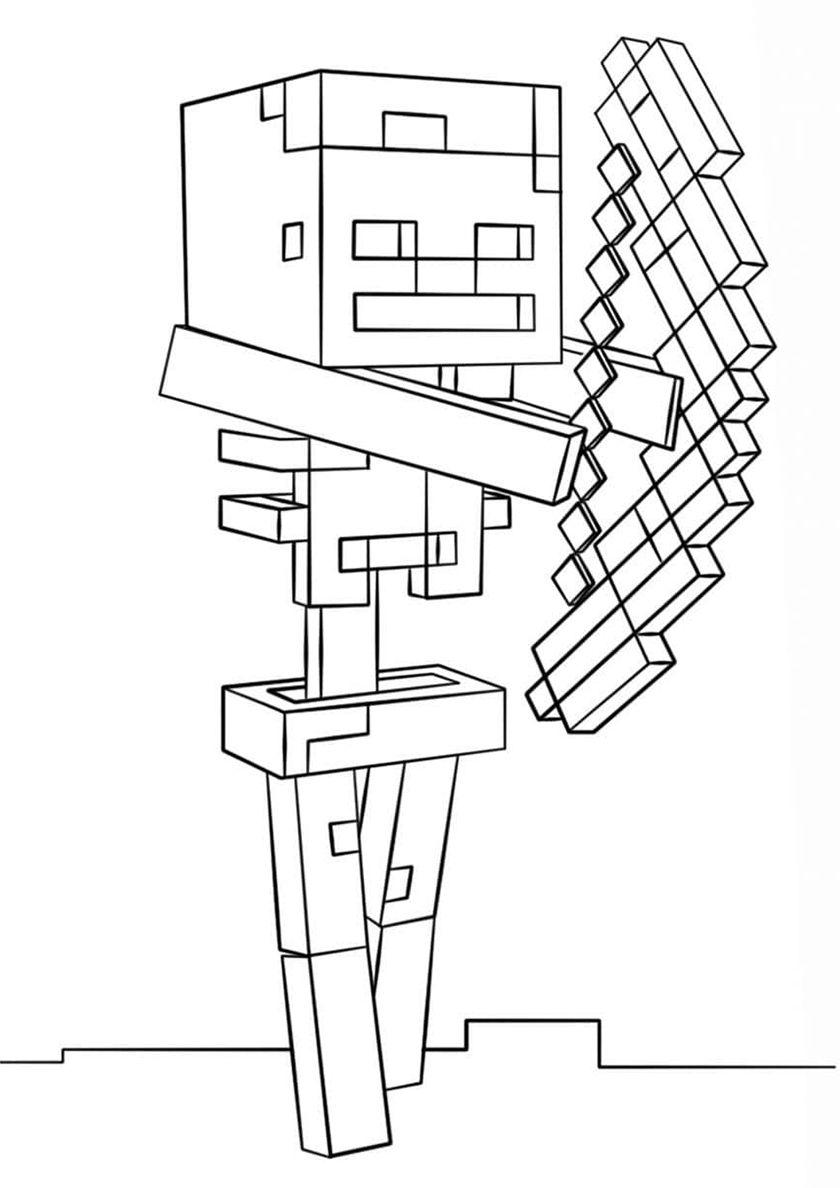 malvorlage minecraft skelett