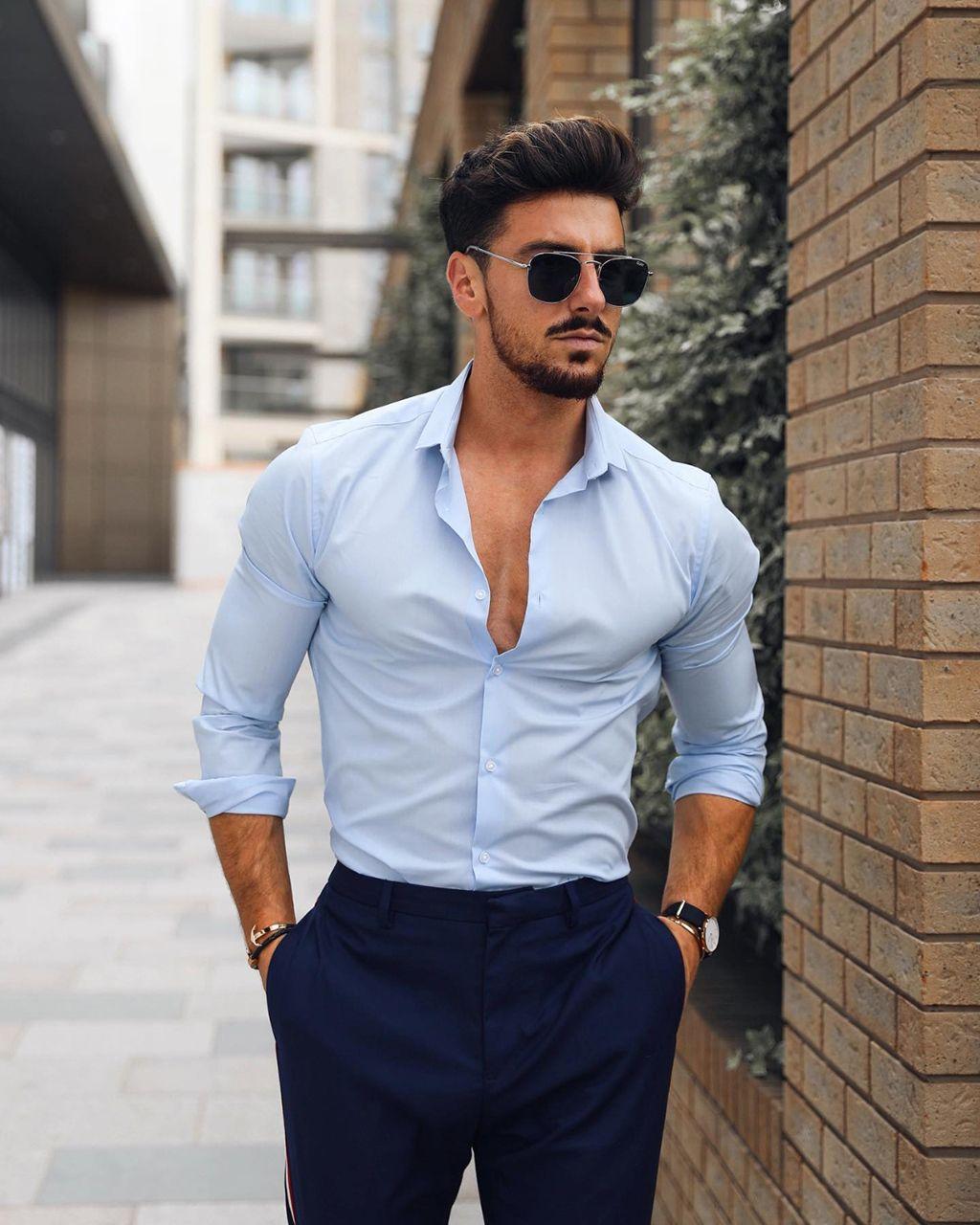 Camisa Social Bolinhas Slim Fit Azul Marinho Masculina Manga Longa