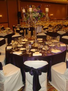 Eggplant Table Cloth White Chair Covers With Silver Bows Google Search