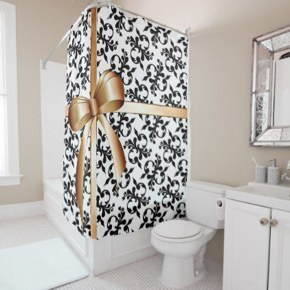 Elegant Black and White Flourishes with Gold Bow Shower Curtain ...