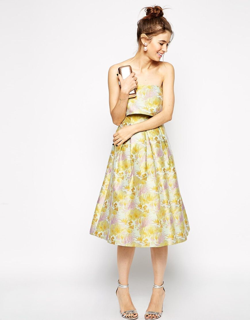Asos wedding day guest dresses  Image  of ASOS Jacquard Prom Bandeau Midi Dress With Crop Top