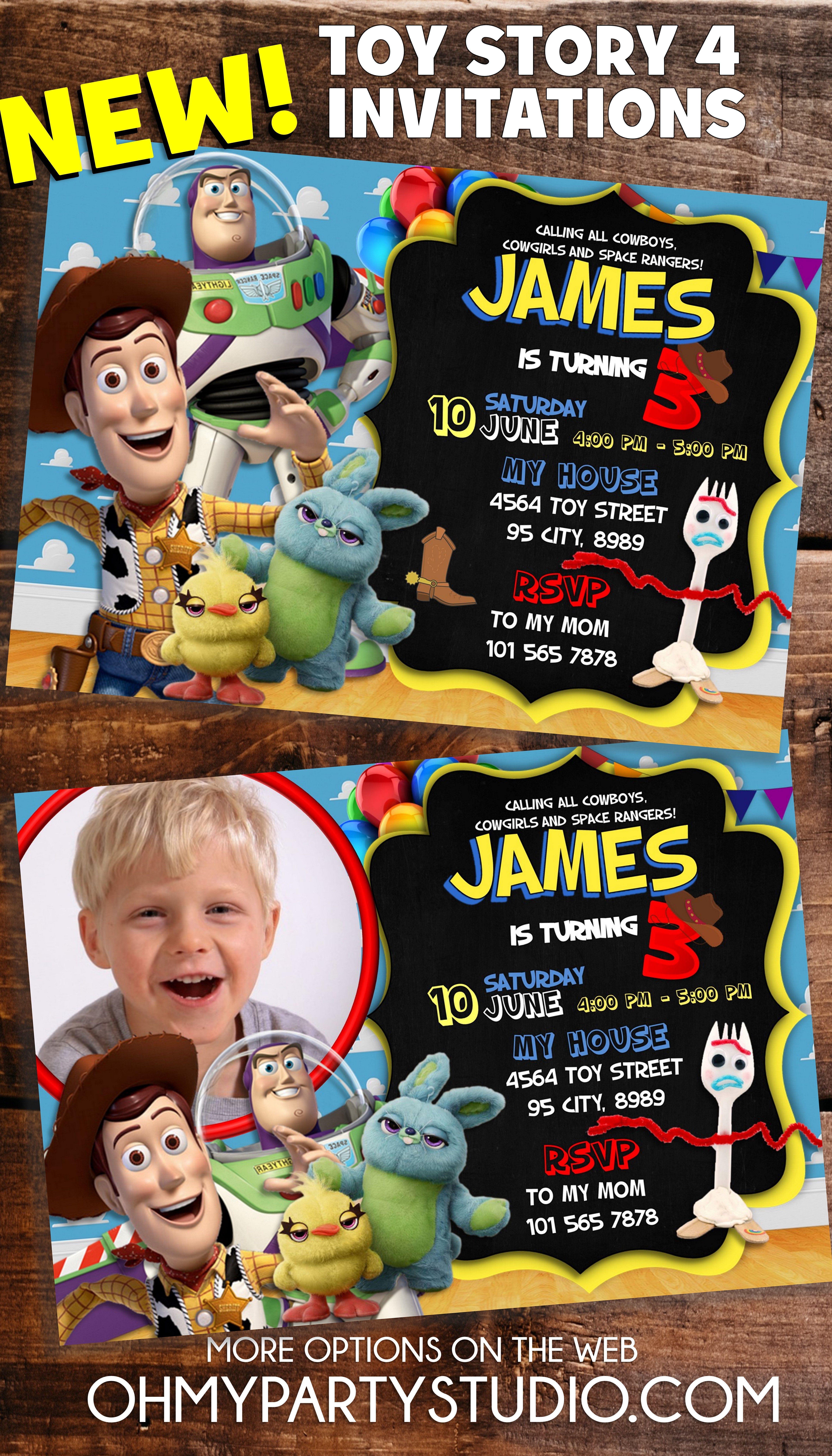Toy Story 4 Birthday Invitation Toy Story Party Ideas Toy