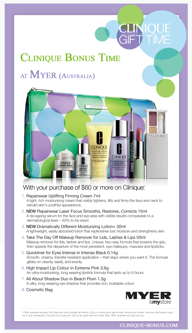 Australian Clinique gift time (at with 65