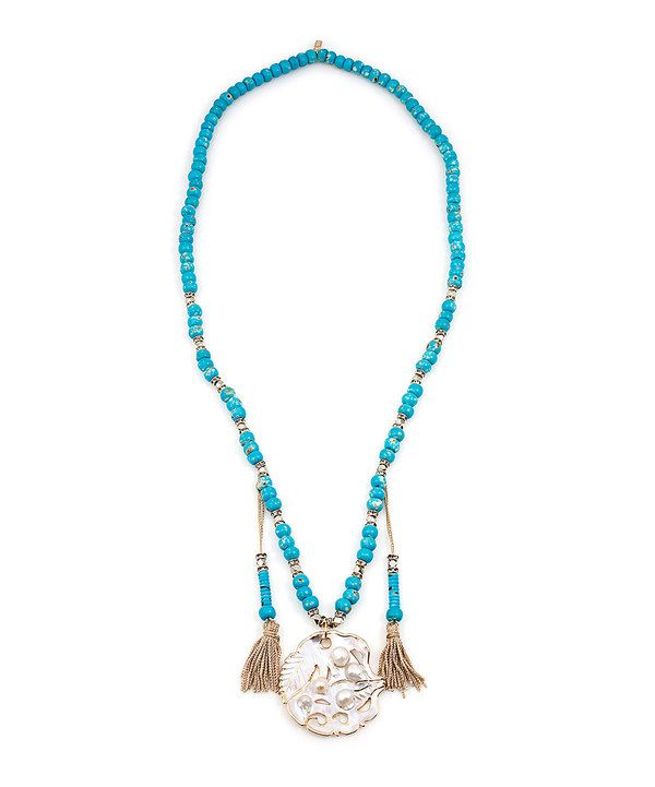 Look at this #zulilyfind! Teal & Mother-of-Pearl Siphonei Pendant Necklace by Vanessa Mooney #zulilyfinds