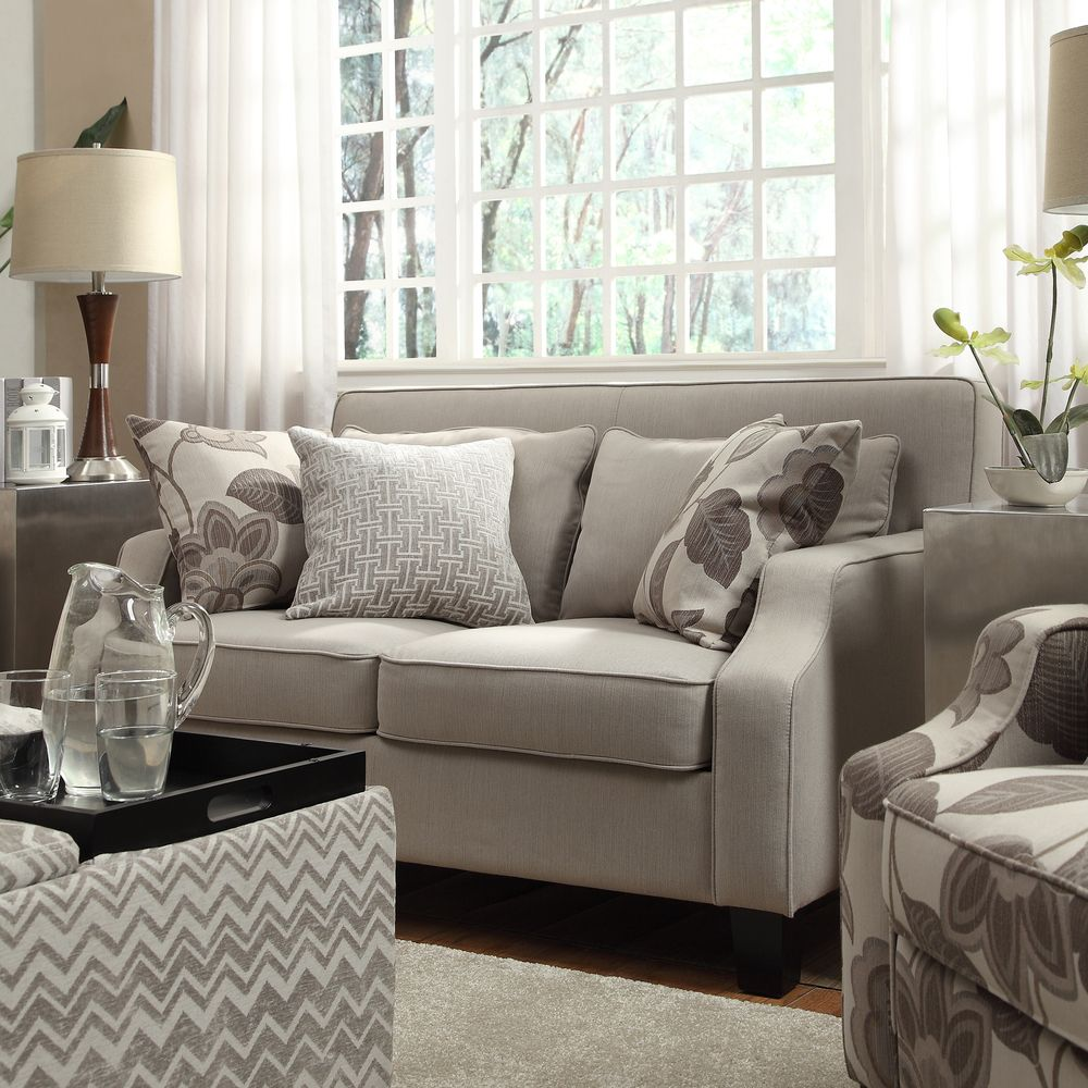 Inspire Q 'Ellyson' Light Grey Sloped Track Arm Loveseat | Overstock.com  Shopping