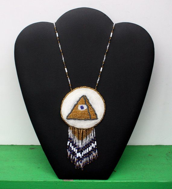 LARGE and LONG Eye Pyramid Beaded Fringe Necklace by WilburVintage, $48.00