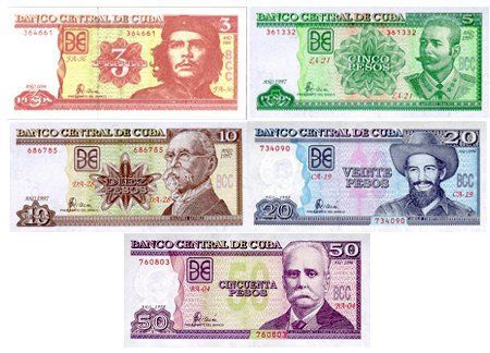 Economy This Is The Cuban Peso There Are Seven Diffe Dollars 1 3 5 10 20 50 And 100 Five Coins