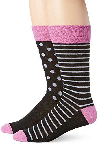 English Laundry Mens 2 Pack Fine Stripe And Dot Crew Socks Black