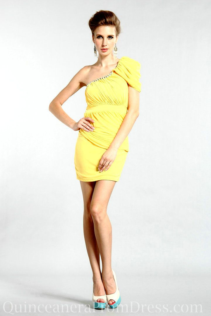 Chiffon One Shoulder Yellow Short Junior Prom Dress Designs Sale ...