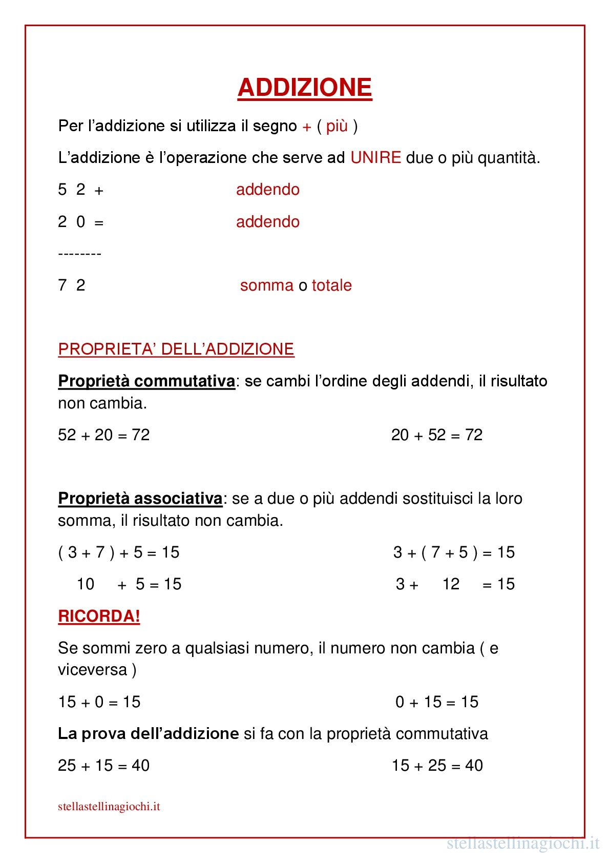 Schede didattiche di matematica. L'addizione. Sul blog ...