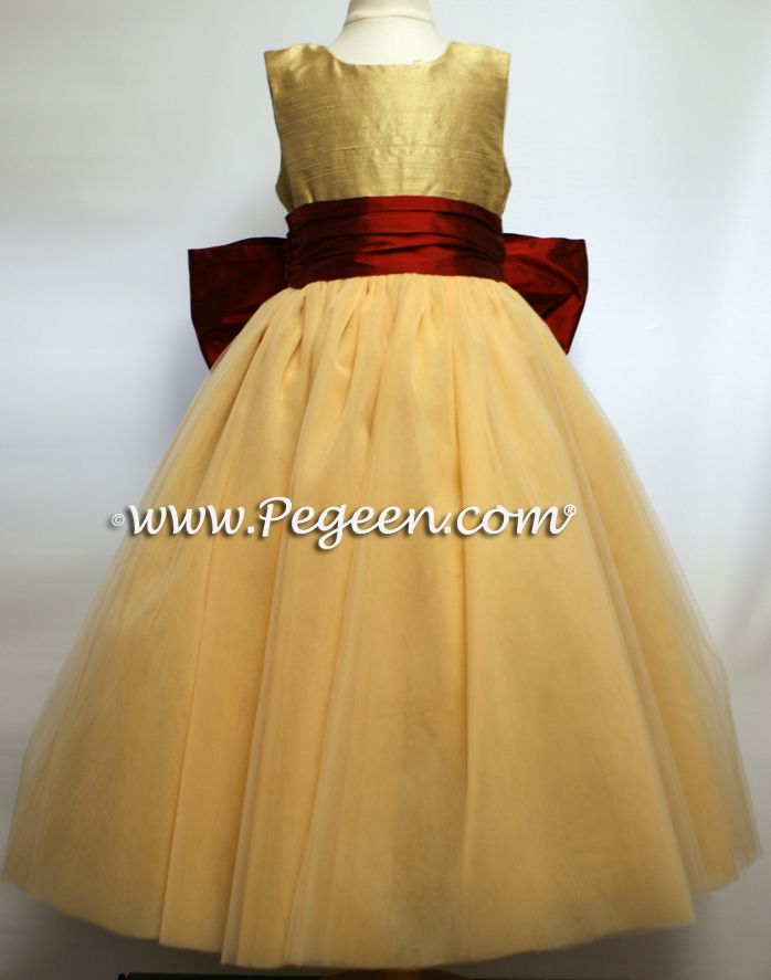 Red with Yellow Flower Girl Dresses