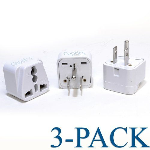 Ceptics Grounded Universal Plug Adapter for US (Type B) - 3 Pack by Ceptics. $6.99. Ceptics Grounded Universal Plug Adapter for US (Type B) - 3 Pack