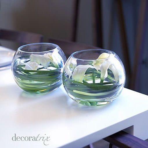 Jarrones de cristal con flores sumergidas calas - Decoracion de jarrones de cristal ...