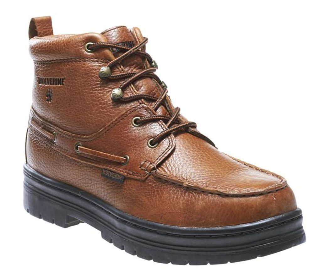 dce834ef37b Wolverine Moc-Toe Brown Leather Steel Toe Chukka Work Boot Mens Size ...