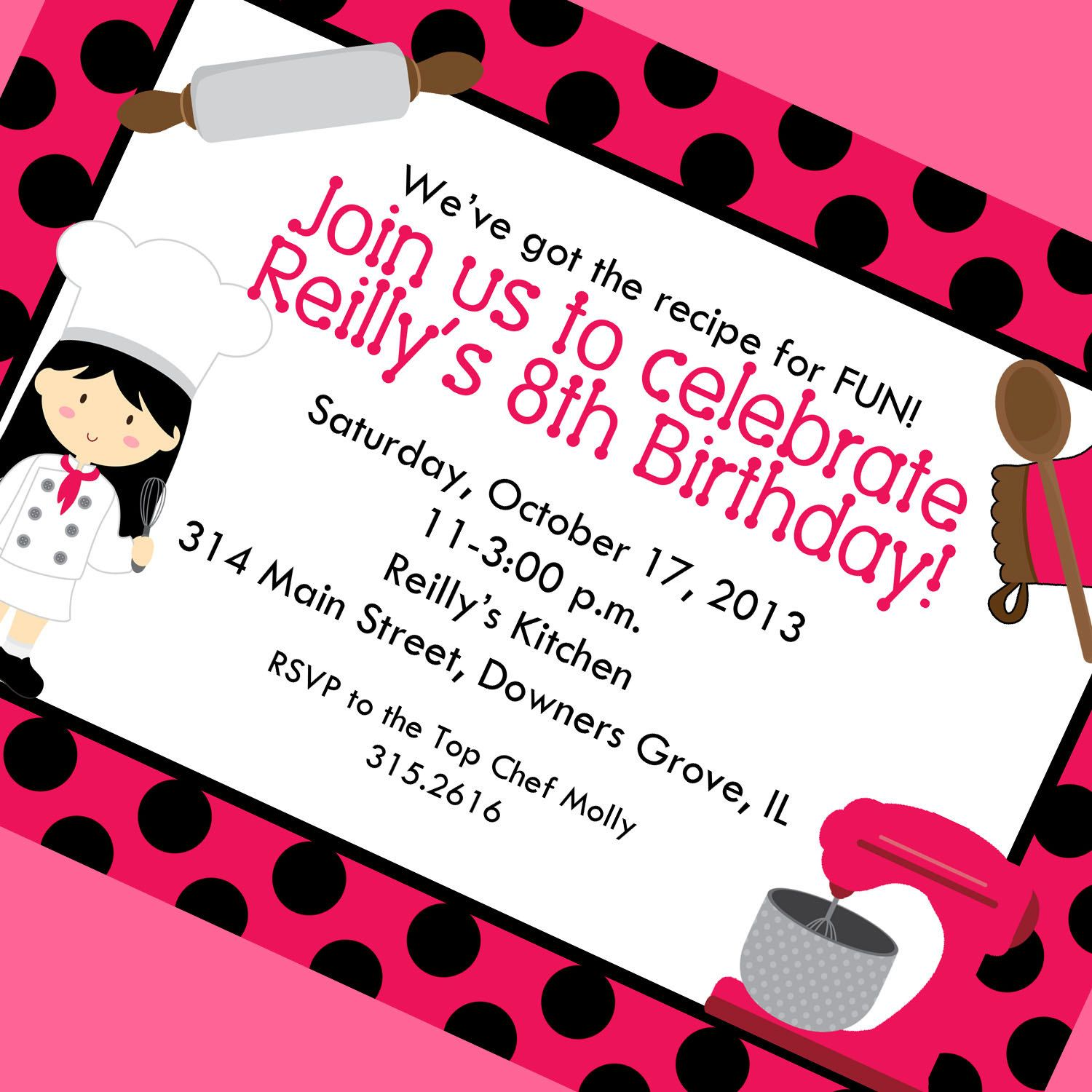 Top Chef Girl Cooking Party Invitation, Printable Invitation ...