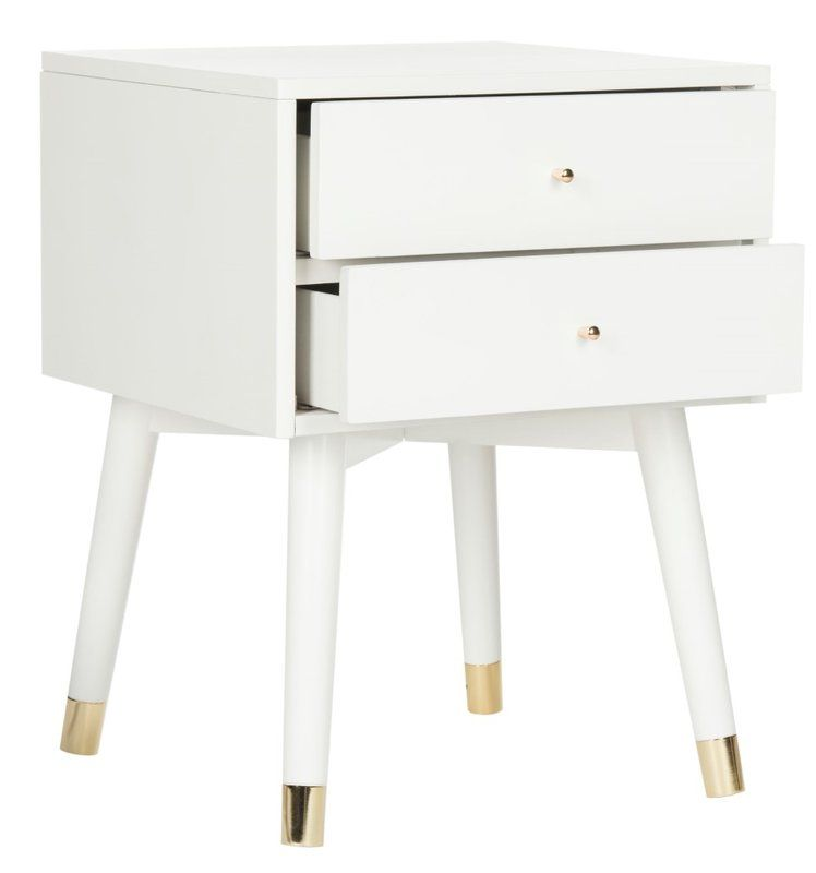 Kraemer 2 Drawer Nightstand White And Gold Nightstand White Nightstand Modern Style Decor