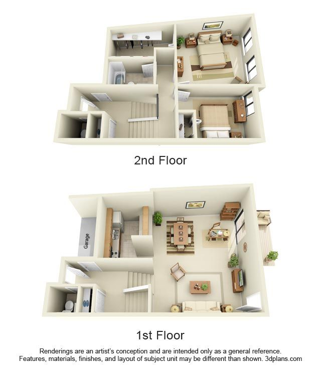 2 Bedroom Townhouse, Style C 1.5 Bathrooms 1100 Square