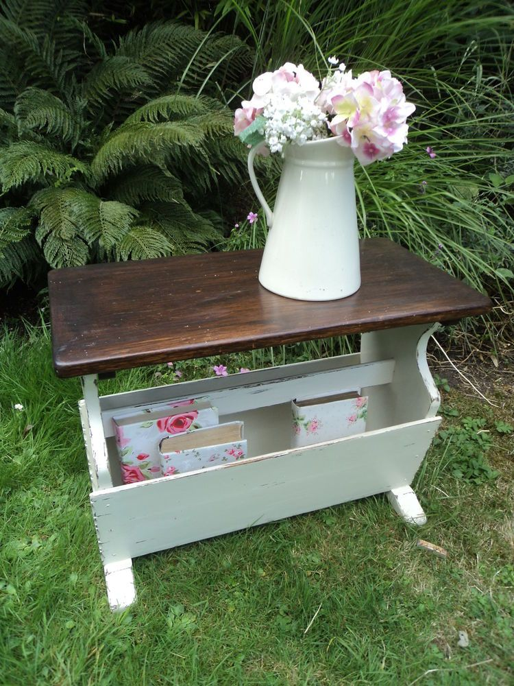 Fantastic PAINTED VINTAGE SIDE TABLE WITH MAGAZINE RACK STORAGE in Home  SZ59