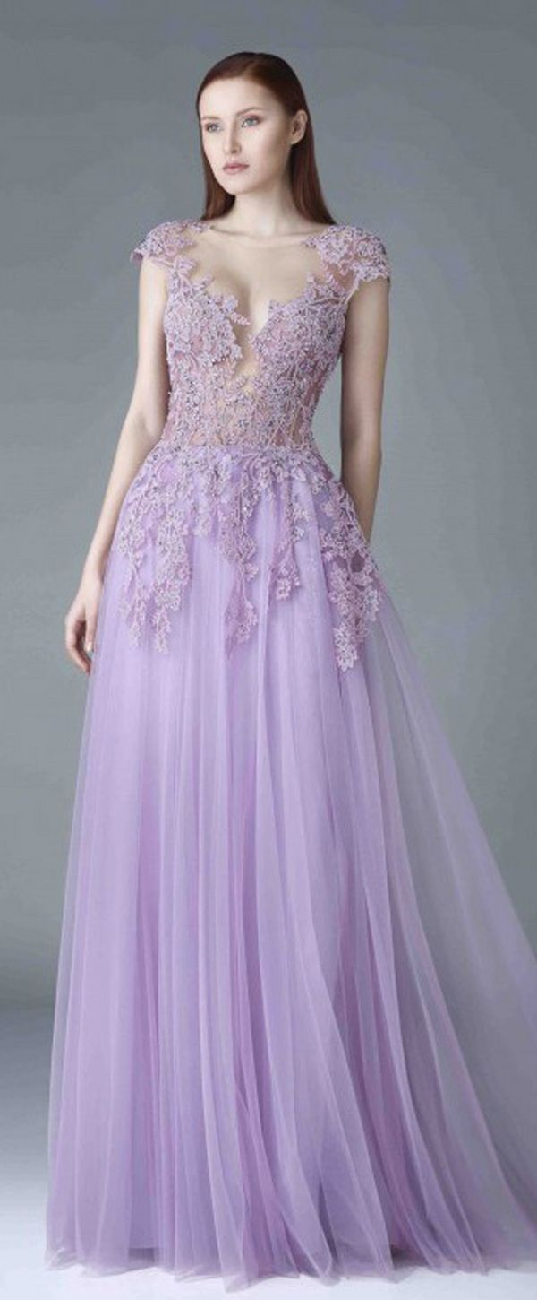 Gorgeous tulle scoop neckline cap sleeves aline prom dress with