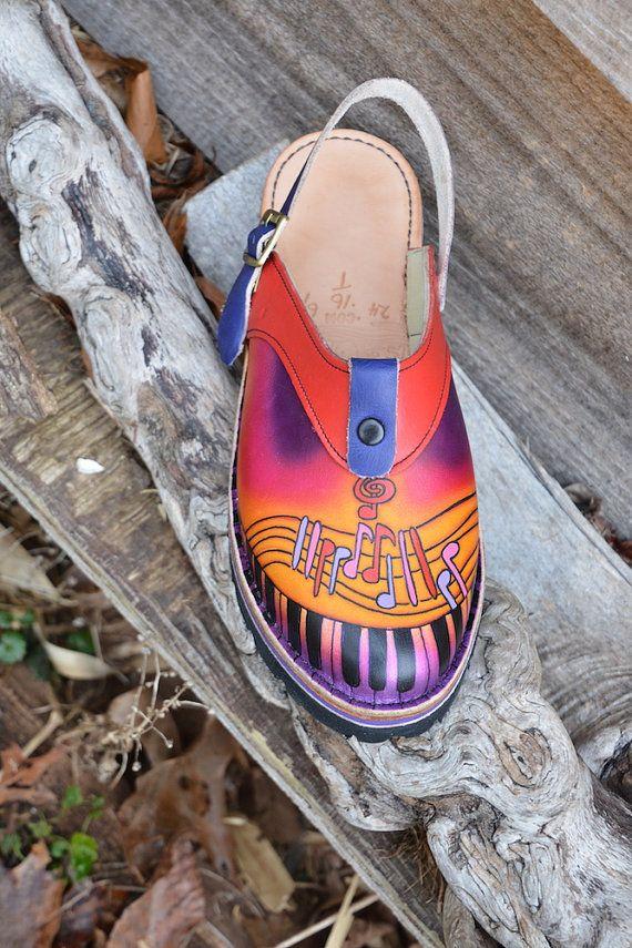 5ed3234491de9 Handmade Custom Leather Sling Back Clogs Shoes - key board- Hand ...