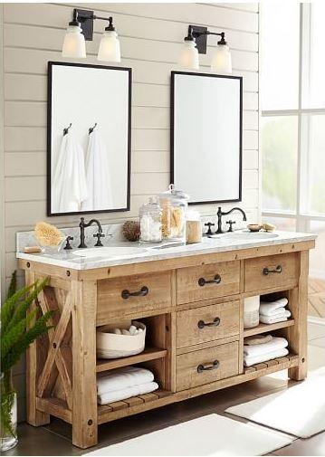 Beautiful Rustic Farmhouse Wood Bathroom Vanity Love The Shiplap
