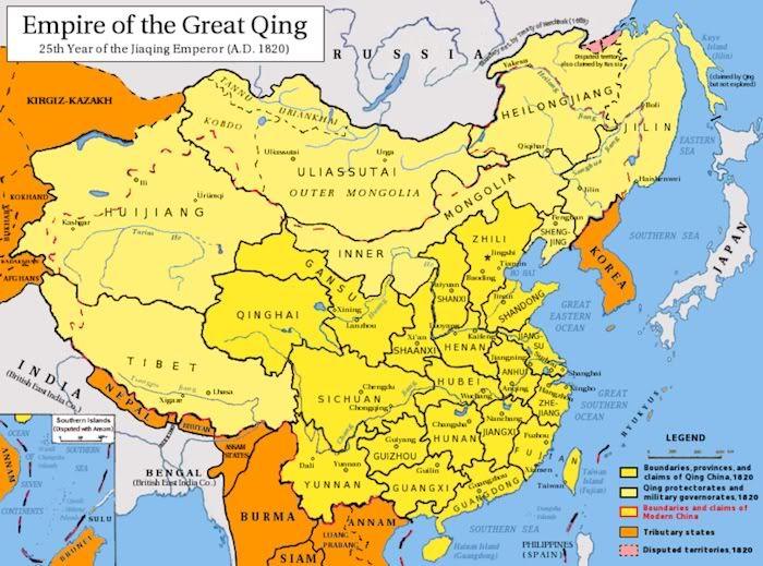 Mapa de China durante la dinasta Qing  Mapas y planos de China