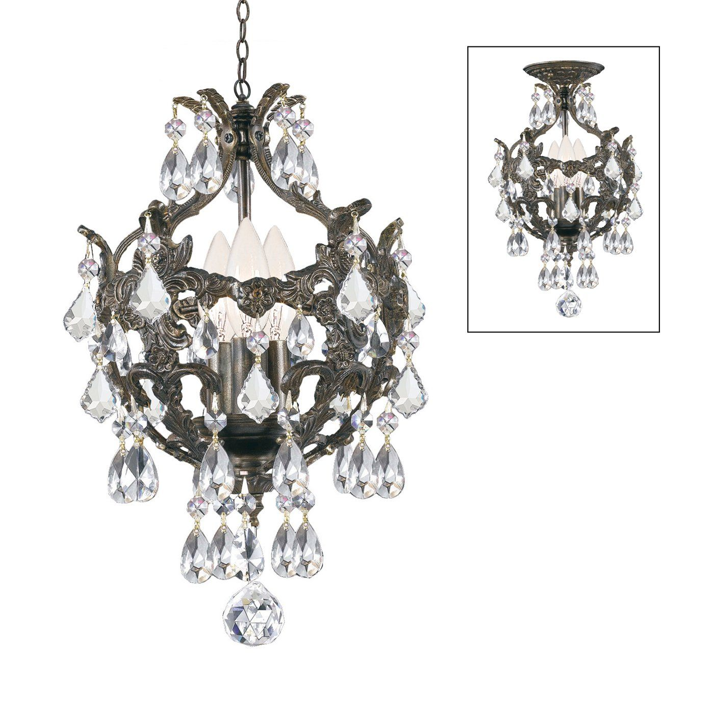 Crystorama Lighting 5193-EB-CL-MWP 3 Light Legacy MiniChandelier Chandelier, English Bronze- lighting universe