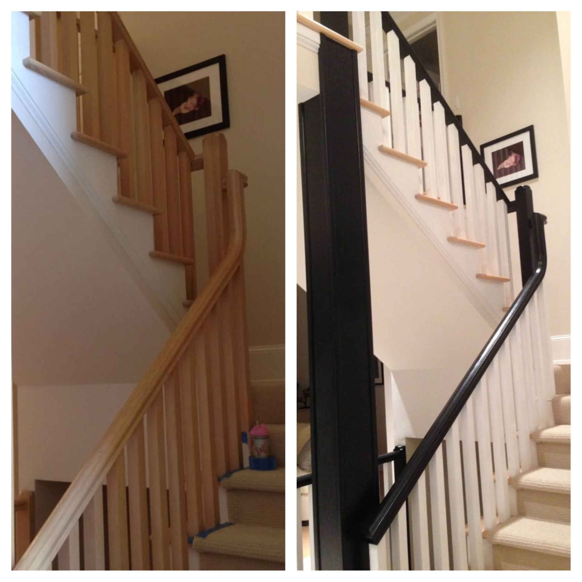 Before And After Painted Banister Painted Stairs Home Projects Banisters
