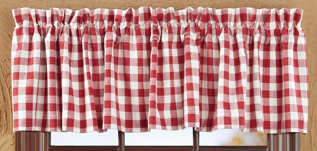 Dark Red And Off White Gingham Buffalo Check Valance Victorian Shower Curtains Retro Curtains Valance Curtains