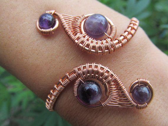 Amethyst Copper Double Spiral Wire Weave Bracelet   Drahtschmuck ...