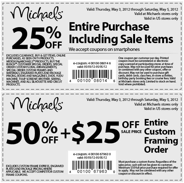 25 off everything at michaels includes sale items - Michaels Frames Coupons