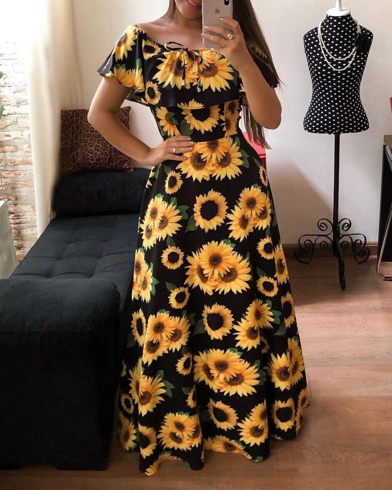 Off Shoulder Sunflower Print Maxi Dress Maxi Dress Beautiful Dress Designs Printed Maxi Dress [ 1000 x 800 Pixel ]