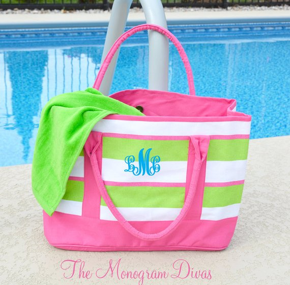 dbe1fd64d Monogrammed Beach Bag in Preppy Stripes, Canvas Beach Bags, Personalized  Beach Bags, Flamingo Party,