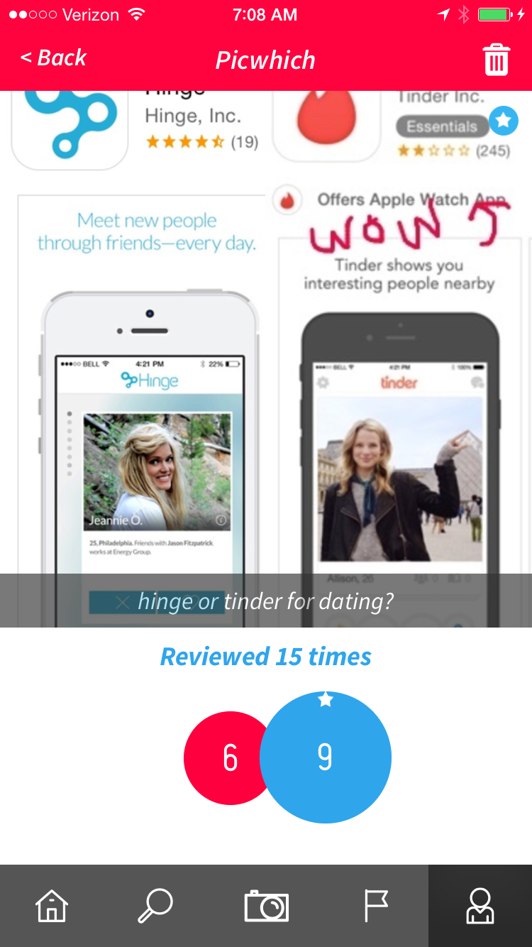 Tinder vs Hinge... Tinder wins per Picwhich survey. Must