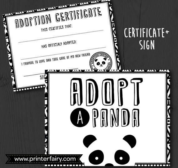 Panda Birthday Party Panda Adoption Certificate Panda  The Party
