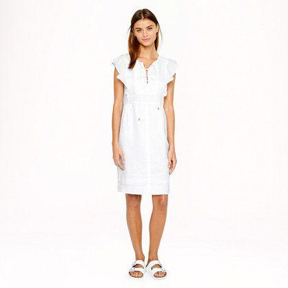 J.Crew linen dress with Birkenstock sandals http://www.saltstyleblog.com