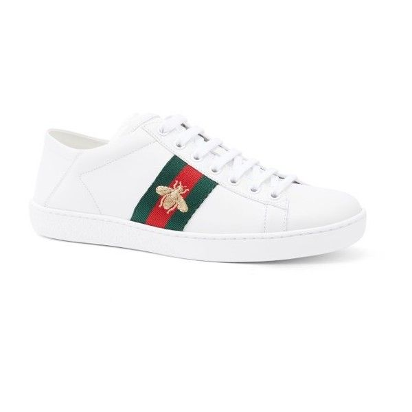 5e78da601 Women's Gucci New Ace Convertible Heel Sneaker ($595) ❤ liked on Polyvore  featuring shoes, sneakers, white leather, convertible shoes, white shoes,  gucci ...