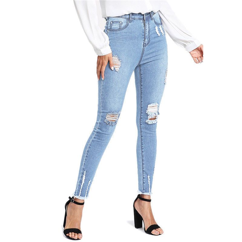 Pantalones Jeans De Tiro Alto Para Mujer Rasgados Cintura Alta Levanta Cola   MercantilExpress  SlimSkinny  ropa  moda  mujeres  vestidos  pantalones ... ec072f7762ba