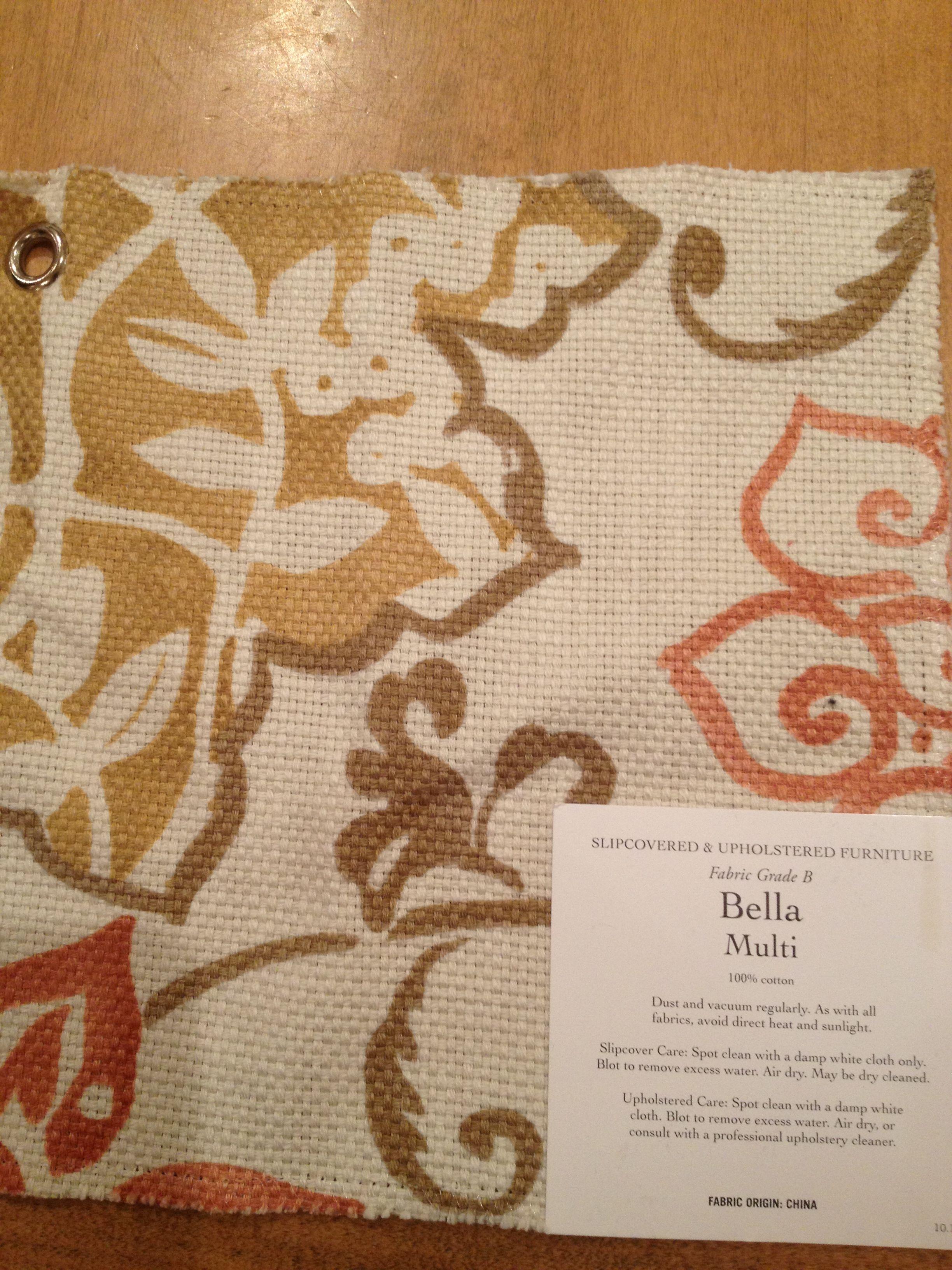 Bella Multi fabric sample from Pottery Barn Furniture