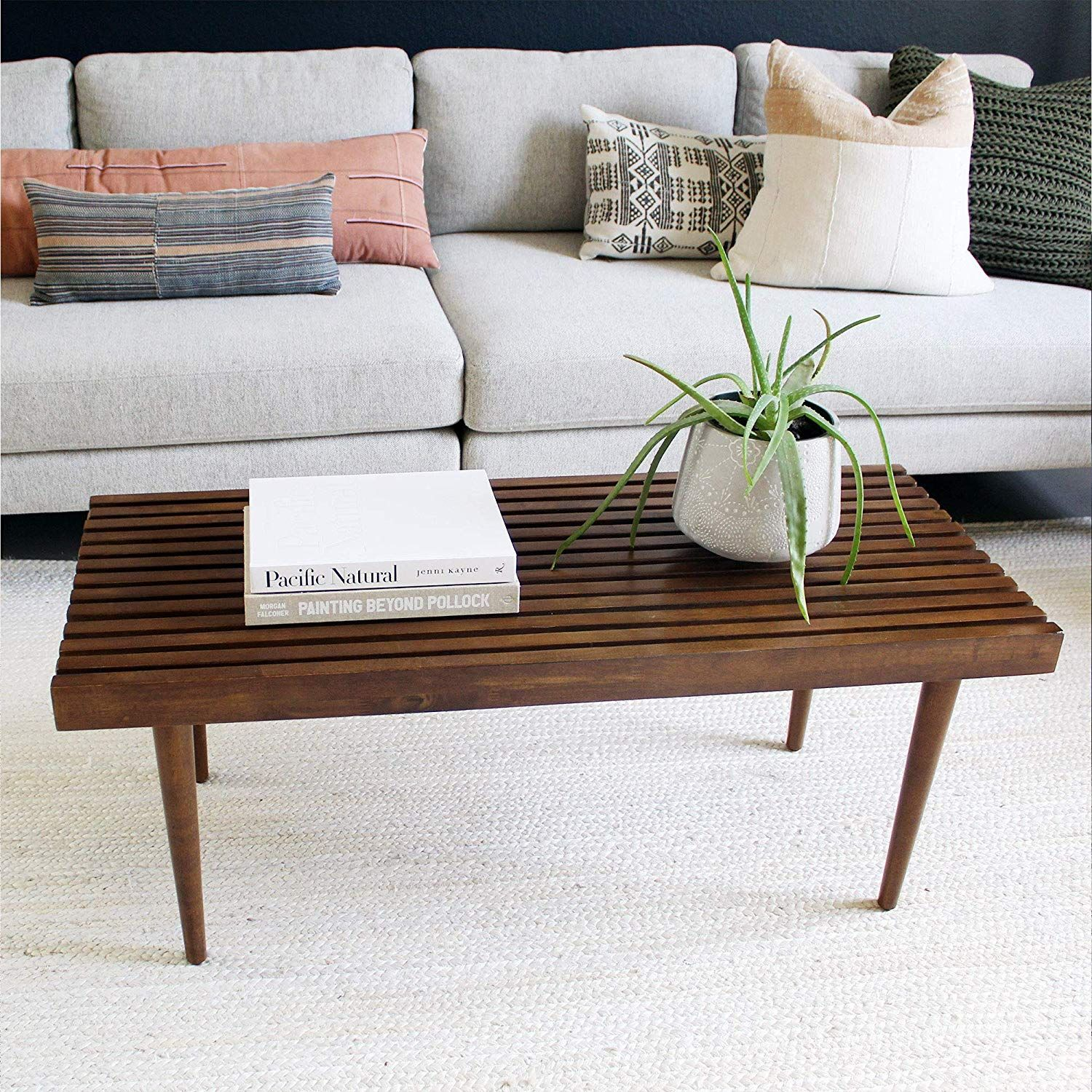 Nathan James Clyde Boho Slatted Coffee Table Mission Style Bench