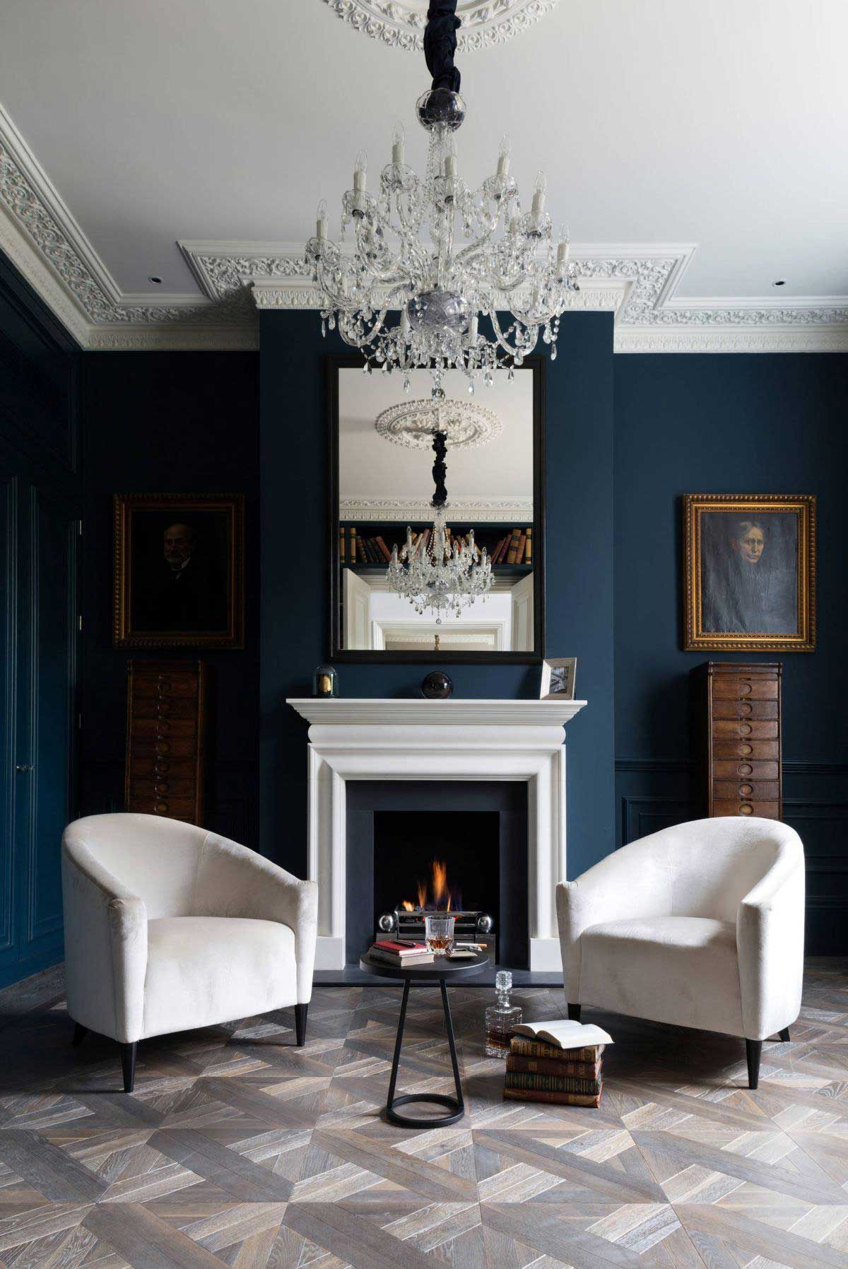 50 Color Combination With Blue For Living Room Victorian Living Room Dramatic Navy Blue Victorian Living Room Living Room Paint Paint Colors For Living Room