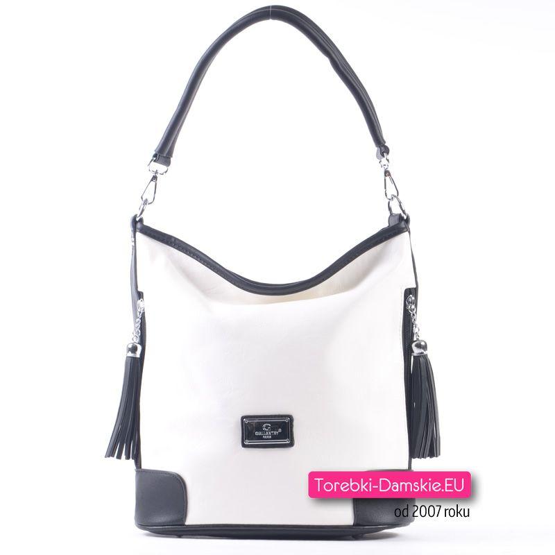 52f6e37cfa6d8 Biało czarna torebka damska średniej wielkości