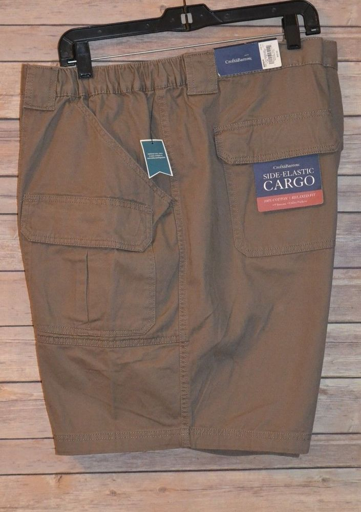 Croft Barrow mens STRETCH Side Elastic Belted Cargo Shorts 34 42 44 48 52 NEW
