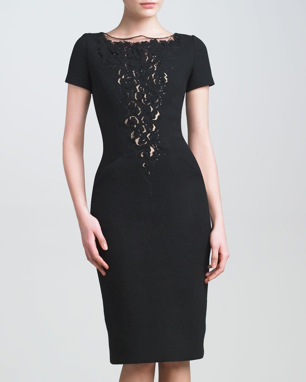 313d56a72b49 Carolina Herrera Lace-Plunge Crepe Dress | #07 Fashion for Mature ...